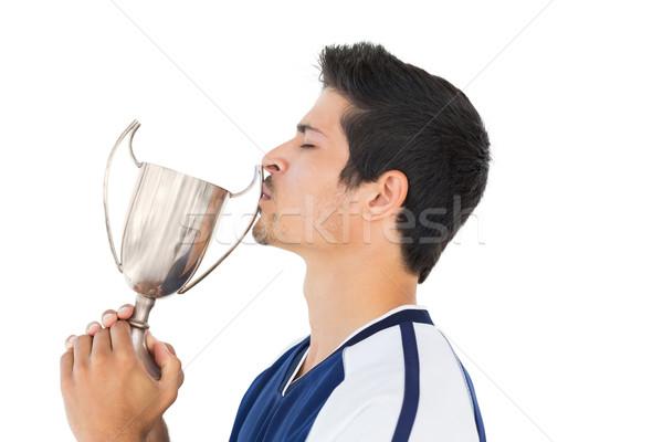 Całując zwycięzcy kubek biały sportu Zdjęcia stock © wavebreak_media