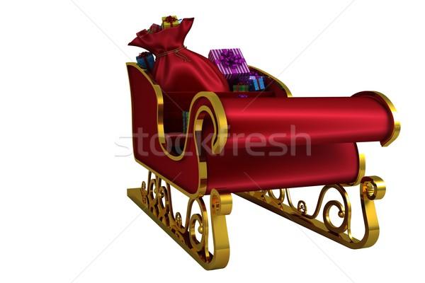 Rot Gold Schlitten weiß Geschenk Stock foto © wavebreak_media