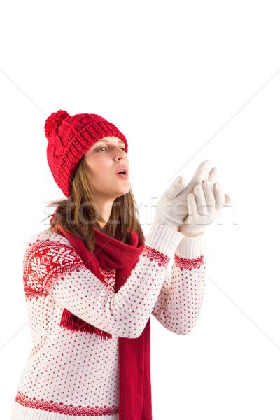Nő meleg ruha fúj kezek fehér boldog Stock fotó © wavebreak_media