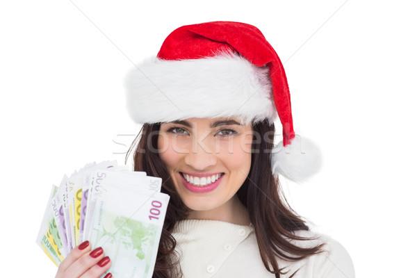 Felice bruna contanti bianco soldi Foto d'archivio © wavebreak_media