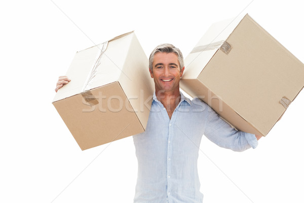 Boldog férfi hordoz karton dobozok fehér Stock fotó © wavebreak_media