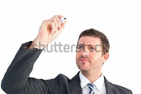 серьезный бизнесмен Дать маркер белый стороны Сток-фото © wavebreak_media