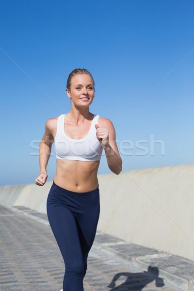 Dopasować jogging molo wiosną Zdjęcia stock © wavebreak_media