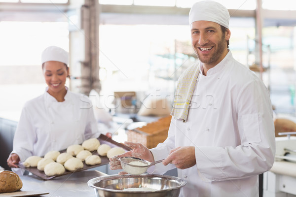 Bakker meel kom keuken bakkerij business Stockfoto © wavebreak_media