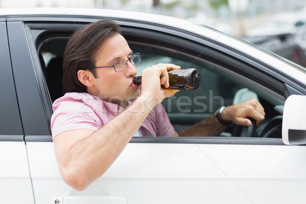 Man drinken bier rijden auto fles Stockfoto © wavebreak_media