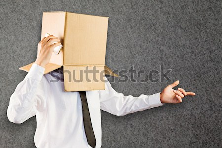 анонимный бизнесмен смартфон серый человека окна Сток-фото © wavebreak_media