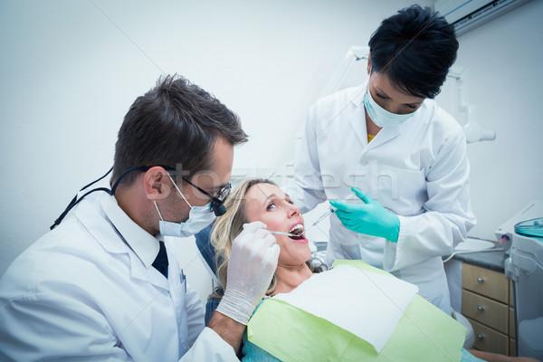 Stok fotoğraf: Erkek · dişçi · asistan · dişler · diş · hekimleri