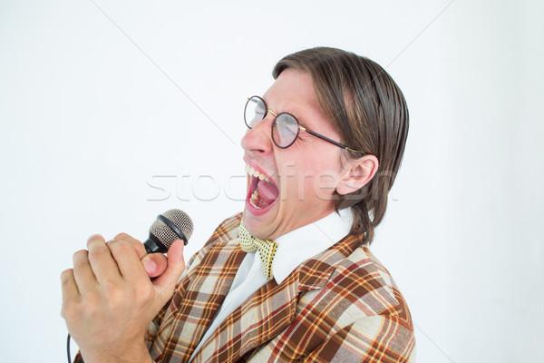 幸せ ヒップスター 歌 マイク 白 男 ストックフォト © wavebreak_media