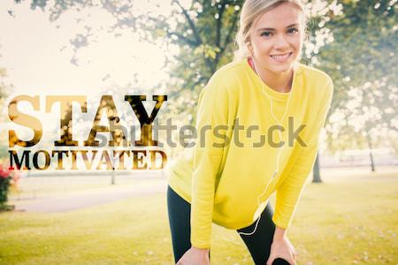 Composite image of active exhausted blonde pausing after running Stock photo © wavebreak_media