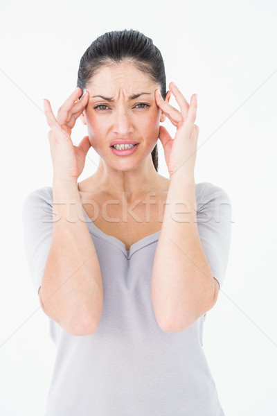 Brunetka cierpienie migrena biały kobieta zdrowia Zdjęcia stock © wavebreak_media