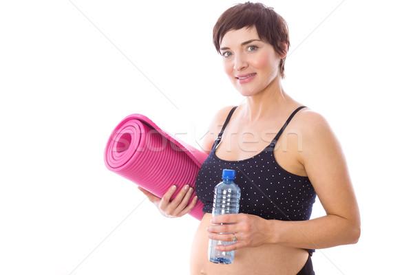 Stock fotó: Terhes · nő · forma · fehér · víz · egészség · terhes