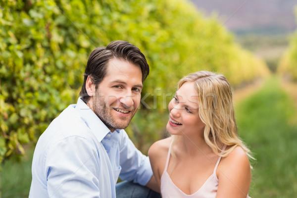 Jovem feliz casal sorridente câmera uva Foto stock © wavebreak_media