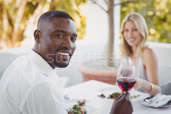 Paar wijnglazen restaurant vrouw gelukkig Stockfoto © wavebreak_media
