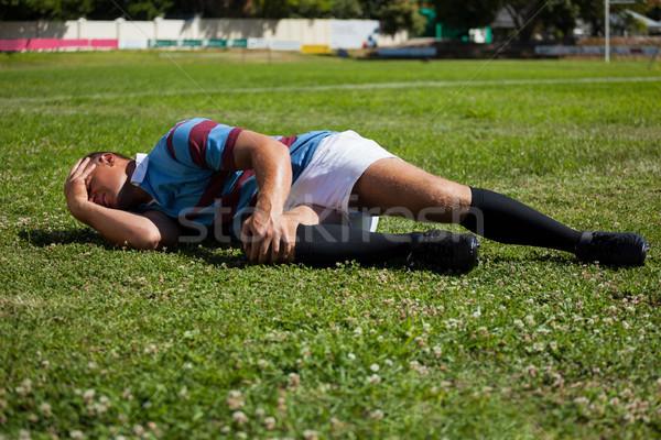 Rugby speler veld spelen man fitness Stockfoto © wavebreak_media
