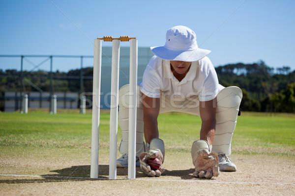 Wicketkeeper holding ball behind stumps against blue sky Stock photo © wavebreak_media