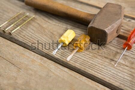 Overhead view of hand tools Stock photo © wavebreak_media