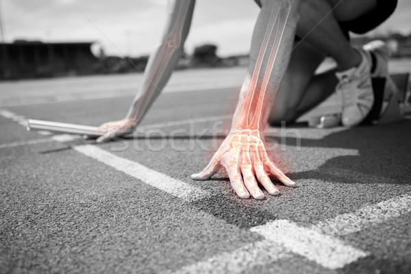 Kości człowiek wyścigu digital composite graficzne runner Zdjęcia stock © wavebreak_media
