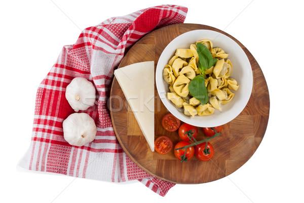 Makarna peynir domates sarımsak peçete bez Stok fotoğraf © wavebreak_media
