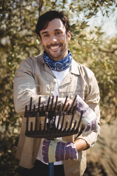 Smiling young man with rake standing at olive farm Stock photo © wavebreak_media