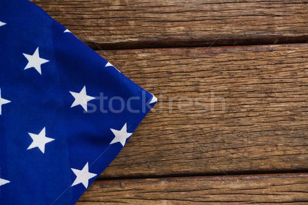 Amerikai zászló fa asztal közelkép háttér kék zászló Stock fotó © wavebreak_media