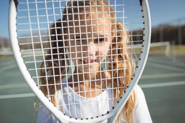 Lány teniszütő közelkép portré gyermek fitnessz Stock fotó © wavebreak_media