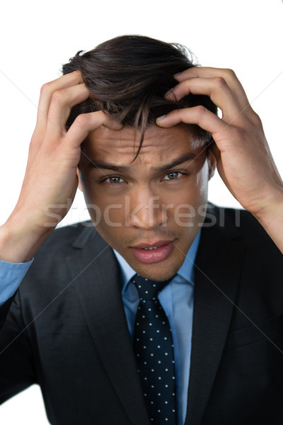 Retrato frustrado empresário cabeça mão branco Foto stock © wavebreak_media