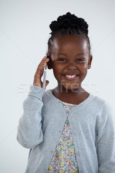 Portré boldog üzletasszony beszél telefon fal Stock fotó © wavebreak_media
