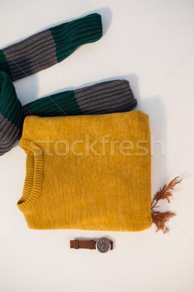 Warm clothing with watch on white background Stock photo © wavebreak_media