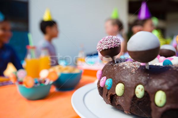 Verjaardagstaart kinderen meisje partij liefde Stockfoto © wavebreak_media