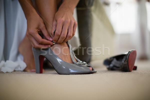 Bruid bruiloft schoen home vrouw Stockfoto © wavebreak_media