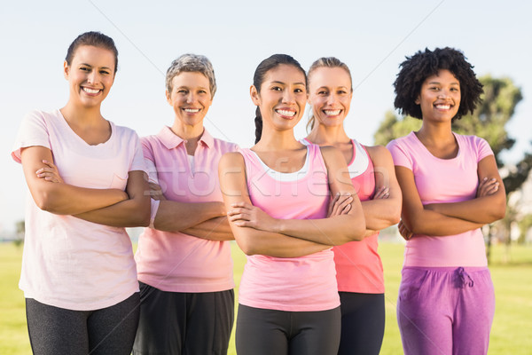 Smiling women wearing pink for breast cancer with arms crossed Stock photo © wavebreak_media