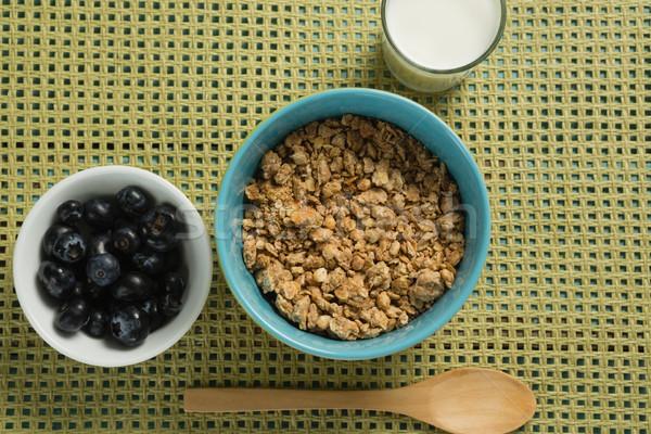 Tál gabonafélék áfonya üveg joghurt reggeli Stock fotó © wavebreak_media