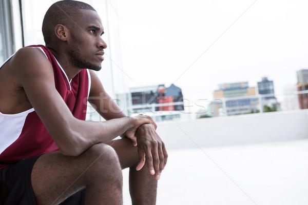 Jugador sesión terraza deporte masculina Foto stock © wavebreak_media