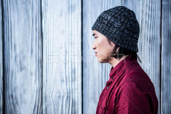 Oldalnézet figyelmes hipszter üzletember fából készült férfi Stock fotó © wavebreak_media
