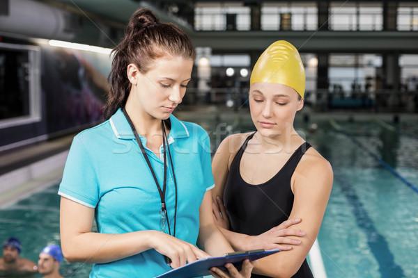 тренер женщину буфер обмена пловец бассейна Сток-фото © wavebreak_media
