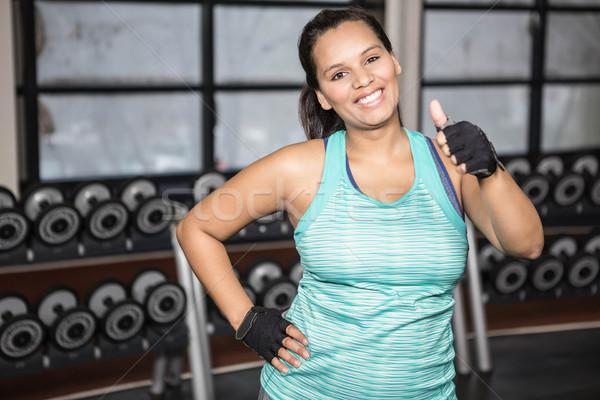 Gülümseyen kadın spor salonu spor sağlık iletişim Stok fotoğraf © wavebreak_media