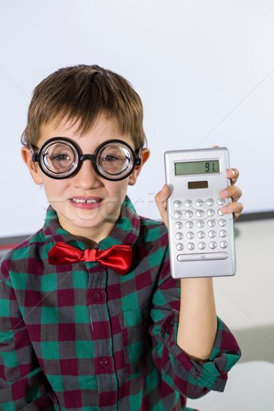 Portré fiú tart számológép osztályterem tábla Stock fotó © wavebreak_media