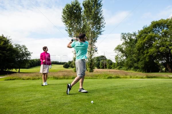 мужчины инструктор женщину обучения гольф гольф Сток-фото © wavebreak_media
