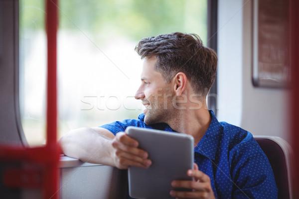Jóképű férfi néz ablak utazás vonat szeretet Stock fotó © wavebreak_media