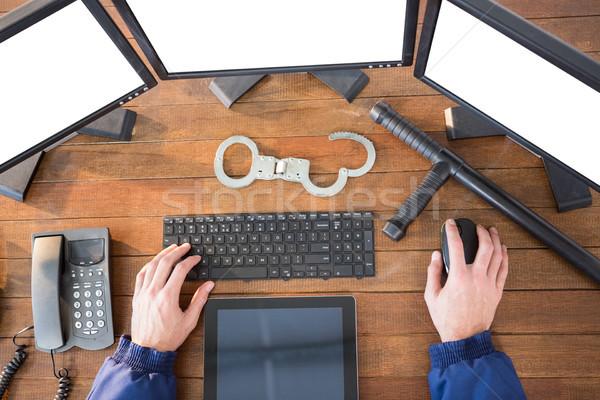 Mãos segurança oficial secretária computador Foto stock © wavebreak_media