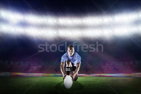 összetett kép portré rögbi játékos térdel Stock fotó © wavebreak_media