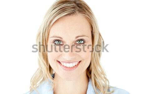 Encantado mulher lustro branco sorrir cara Foto stock © wavebreak_media