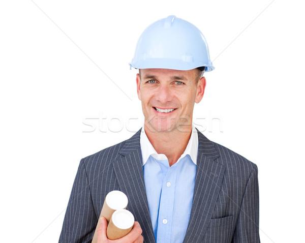 Portret charismatische mannelijke ingenieur geïsoleerd witte Stockfoto © wavebreak_media