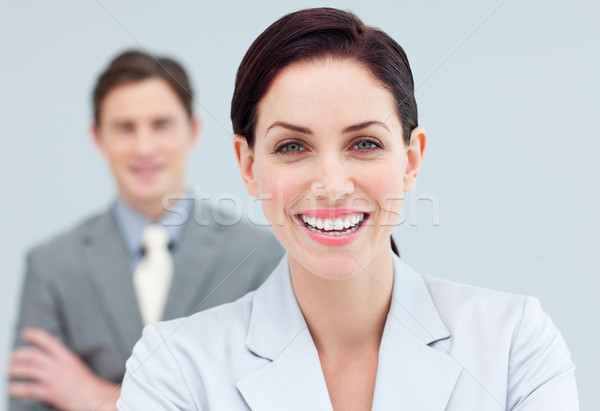 Cheerful business people standing in a row  Stock photo © wavebreak_media