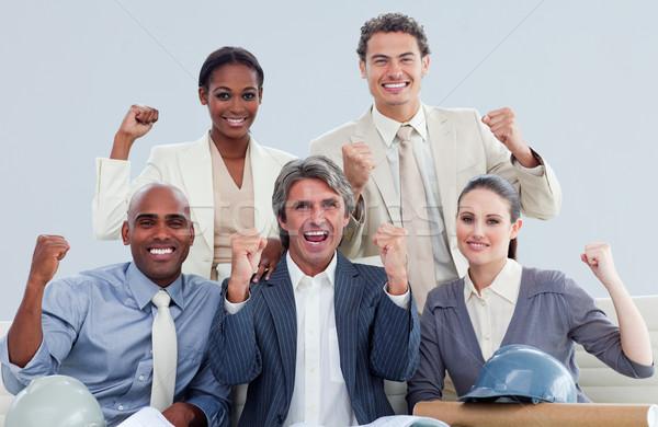 Szerencsés ünnepel siker cég nő mosoly Stock fotó © wavebreak_media