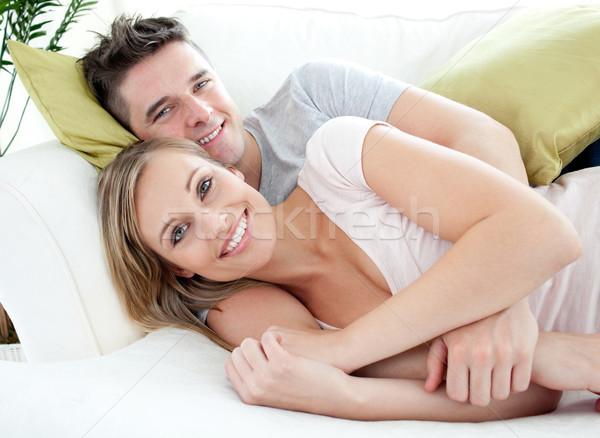 улыбаясь любителей вместе диван Жилье Сток-фото © wavebreak_media