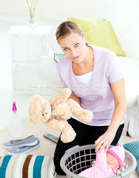 Depresji młodych matka zabawki koszyka pokój Zdjęcia stock © wavebreak_media