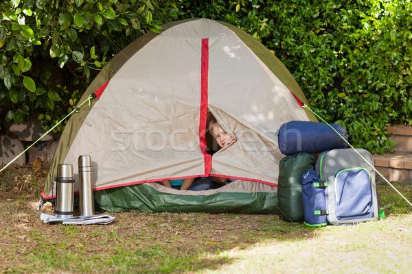 палатки саду лет группа реке пламени Сток-фото © wavebreak_media