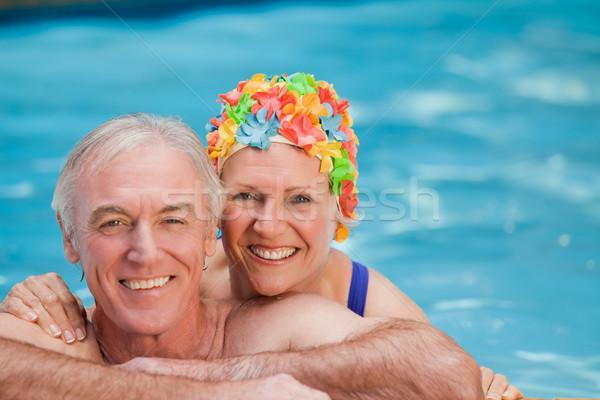 Mutlu olgun çift yüzme havuzu kadın güneş Stok fotoğraf © wavebreak_media