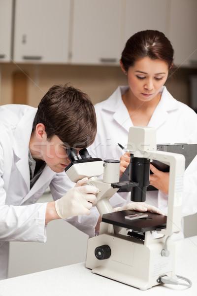 Retrato cientista olhando microscópio Foto stock © wavebreak_media